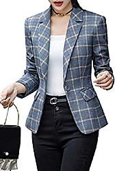 povoljno -ženski sako s dugim rukavima jakna s jednim gumbom uredski kardigan povremeni karirani sakoi sivi karirani 2xl