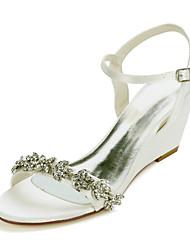 cheap -Women's Wedding Shoes Wedge Heel Open Toe Sweet Wedding Party & Evening Satin Rhinestone Solid Colored White Black Purple