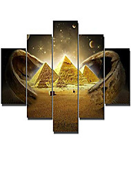 cheap -the golden dazzling sand under the nice starry sky is the tomb of the egyptian pharaoh paintings 5 pcs/multi panel canvas modern artwork decor framed ready to hang posters and prints(60''wx32''h)
