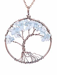 cheap -tumbled natural raw semi precious aquamarine stone tree of life pendant necklace handmade crystal healing chakra gemstone birthstone family root wire wrapped tree life jewelry necklace for mother