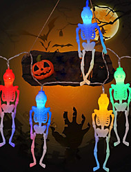 cheap -Halloween New Skeleton String Lights 1.5m 10LEDs AA Battery Operated Ghost Festival Horror Light String Halloween Outdoor Decoration Lights