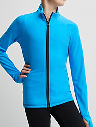 cheap -Figure Skating Fleece Jacket Women's Girls' Ice Skating Jacket Top Black Red Blue Stretchy Training Skating Wear Warm Solid Colored Long Sleeve Ice Skating Winter Sports Figure Skating / Kids
