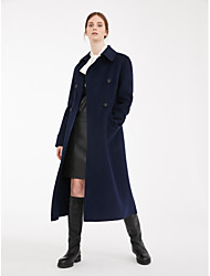 cheap -Women's Solid Colored Basic Fall & Winter Coat Long Daily Long Sleeve Wool Coat Tops Navy Blue