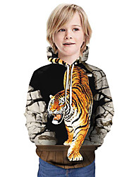 cheap -Kids Boys' Basic Tiger Graphic Animal Long Sleeve Hoodie & Sweatshirt White