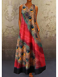 cheap -Women's A Line Dress Maxi long Dress Red Navy Blue Light Blue Sleeveless Peacock Feathers Print Summer V Neck Hot Casual vacation dresses 2021 S M L XL XXL 3XL 4XL 5XL / Plus Size