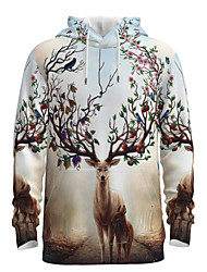 cheap -Daddy and Me Basic 3D Print Animal Print Long Sleeve Regular Hoodie & Sweatshirt Khaki
