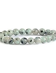 "cheap -natural kiwi jasper gemstone 8mm round beads stretch bracelet 7"" unisex"