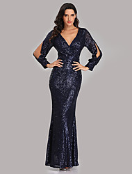 cheap -Mermaid Trumpet Sexy Sparkle Party Wear Formal Evening Dress V Neck Long Sleeve Floor Length Sequined with Sequin 2020