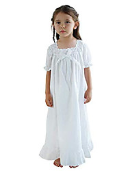 cheap -nightgowns for girls, long vintage soft cotton sleepwear, full length nightdress for kids 3-12 years (short sleeve white, 3-4years/size 100#)