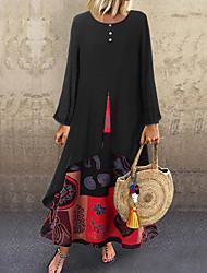 cheap -Women's Swing Dress Maxi long Dress - Long Sleeve Print Patchwork Summer Fall Plus Size Casual Hot vacation dresses Loose 2020 Black Orange M L XL XXL 3XL 4XL 5XL