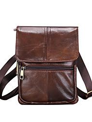 cheap -Men's Bags Cowhide Shoulder Messenger Bag Crossbody Bag Zipper Daily Holiday MessengerBag Dark Brown