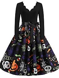 cheap -Halloween Women's A-Line Dress Knee Length Dress - Long Sleeve Pumpkin Skulls Spider Print Bow Patchwork Print Fall V Neck Hot Vintage Slim 2020 Black S M L XL XXL 3XL