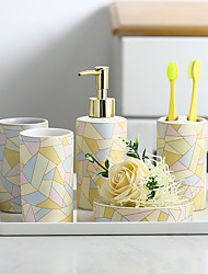 cheap -Bathroom Accessories Set, 5 Piece Ceramic Complete Bathroom Set for Bath Decor, Includes Toothbrush Holder, Soap Dispenser, Soap Dish, 2 Tumblers, Light Yellow Holiday Bathroom Decoration Gift Idea
