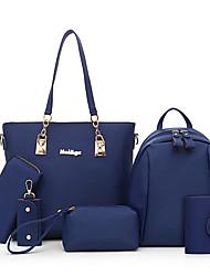 cheap -Women's Bags PU Leather Nylon Bag Set 6 Pieces Purse Set Zipper Solid Color Daily Bag Sets Handbags Black Blue Purple Fuchsia