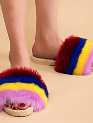 cheap -Women's Slippers & Flip-Flops Fuzzy Slippers Indoor Slippers Platform Open Toe Sweet Daily Home Faux Fur Color Block Wine