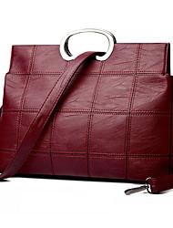 cheap -Women's Bags PU Leather Top Handle Bag Zipper Handbags Daily Date Black Purple Red Gray