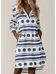 cheap -Women's A-Line Dress Knee Length Dress - Long Sleeve Print Print Summer Fall V Neck Work Elegant Cotton 2020 Blue S M L XL XXL
