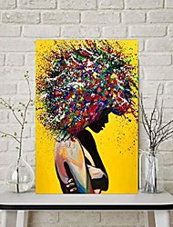 cheap -colorful girl-color graffiti head character woman portrait american home decoration painting girls room women bedroom decor set of 1 (15.75in x 23.62in[no frame] …