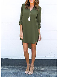 cheap -Women's Chiffon Dress Knee Length Dress Black Green Brown Navy Blue Gray Long Sleeve Solid Color Clothing Summer V Neck Casual 2021 S M L XL XXL 3XL