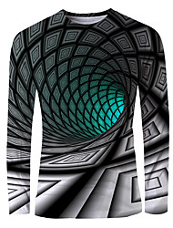 cheap -Men's Graphic optical illusion T-shirt Print Long Sleeve Daily Tops Basic Elegant Round Neck Green