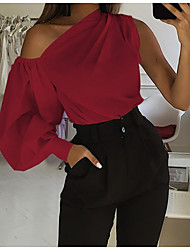 cheap -Women's Work Blouse Shirt Solid Colored Long Sleeve Patchwork Off Shoulder Tops Lantern Sleeve Sexy Basic Top White Black Red