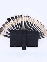 cheap -30 Pcs Animal Hair Makeup Brush Sets Imitation Ebony Wood Handle Blush Brush Foundation Brush Eye Shadow Brush Eyebrow Brush Lip Brush Makeup Brush Soft Hair High-match Professional Set
