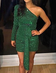 cheap -Women's Sheath Dress Short Mini Dress - Long Sleeve Solid Color Ruched Fall Sexy Party Club 2020 Purple Green S M L XL