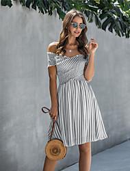 cheap -Women's A Line Dress Knee Length Dress Black Blue Beige Short Sleeve Striped Backless Summer Off Shoulder Casual Cotton 2021 S M L XL XXL