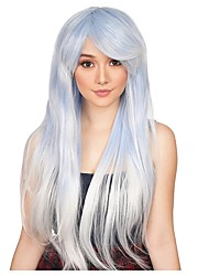 cheap -Cosplay Wig Ombre Alexa Straight Asymmetrical With Bangs Wig Very Long Grey Synthetic Hair Women's Anime Cosplay Ombre Hair Gray