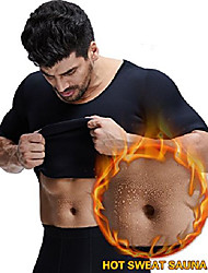 cheap -men's hot sweat vest body shaper tummy fat burner tank top slimming vest weight loss shapewear neoprene no zip (black/02, medium)
