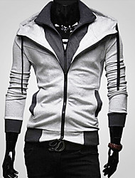 cheap -Men's Plus Size Hoodie Zip Up Hoodie Solid Colored Hooded Daily Sports Going out Basic Hoodies Sweatshirts  Long Sleeve Black Wine Light gray / Spring / Fall / Work
