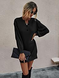 cheap -Women's Sheath Dress Short Mini Dress - Long Sleeve Solid Color Button Spring Fall Casual 2020 Black Red Green Beige Gray S M L XL
