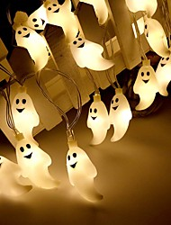 cheap -Halloween Lights Décor LED String Light 3M 20LEDs Cute Ghost Halloween Skull Decorative Lights Halloween Supplies Toys Garland Outdoor Indoor Decoration Light