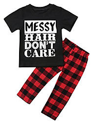 cheap -little girls short sleeve messy hair don't care letters print t-shirt and pants outfit summer (2t, black+red)