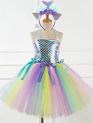 cheap -Mermaid Dress Girls' Movie Cosplay Vacation Dress New Year's Green Rainbow Dress Headwear Christmas Halloween Carnival Polyester / Cotton Polyester