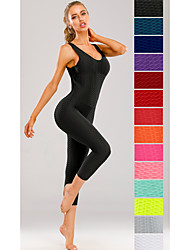 cheap -Women's Workout Jumpsuit Scrunch Butt Ruched Butt Lifting Tights Leggings Romper Tummy Control Quick Dry White Black Purple Zumba Yoga Gym Workout Sports Activewear High Elasticity Slim / Sleeveless