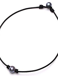 "cheap -aobei one black cultured freshwater pearl choker leather necklace on genuine leather cord handmade for girls-16"" black"