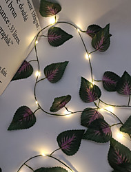 cheap -2.4M 30LEDs New Purple Leaf Vine LED String Lights AA Battery Operated  Fairy Lights Family Party Wedding Valentine's Day Garden Balcony Decoration Lights
