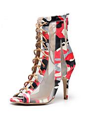 cheap -Women's Jazz Shoes Modern Shoes Dance Boots Boots Flower Slim High Heel Pink / Black Zipper