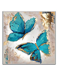cheap -100% Hand Painted Contemporary Blue Butterfly Oil Paintings Modern Decorative Artwork on Rolled Canvas Wall Art Ready to Hang for Home Decoration Wall Decor