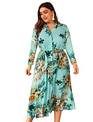 cheap -Women's A-Line Dress Midi Dress - Long Sleeve Floral Patchwork Print Fall V Neck Elegant Going out Cotton Slim 2020 Green Beige XL XXL 3XL 4XL