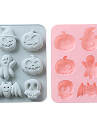 cheap -Halloween Party Silicone Cake Mould 6 Hole Halloween Ghost Festival Doll Pumpkin Skull Baking Mould DIY Ice Mould