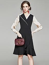 cheap -Women's A-Line Dress Knee Length Dress - Long Sleeve Solid Color Ruffle Patchwork Fall V Neck Work Elegant Slim 2020 Black M L XL XXL