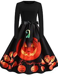 cheap -Halloween Women's A-Line Dress Knee Length Dress - Sleeveless Pumpkin Print Bow Patchwork Print Summer Hot Vintage Party Slim 2020 Black Orange S M L XL XXL