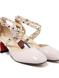 cheap -Women's Heels Pumps Square Toe Sweet Daily Buckle Sequin Solid Colored Patent Leather Walking Shoes Almond