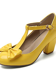 cheap -Women's Heels Chunky Heel Round Toe Sweet Minimalism Daily Party & Evening Bowknot Solid Colored Patent Leather Black / Yellow / Red / 2-3