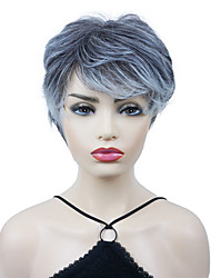 cheap -Synthetic Wig Straight Pixie Cut Wig Short Silver Synthetic Hair Women's New Arrival Silver