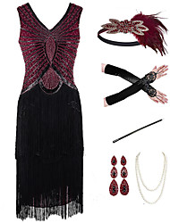 cheap -The Great Gatsby Vintage 1920s Vacation Dress Flapper Dress Outfits Masquerade Women's Tassel Fringe Costume Red+Black Vintage Cosplay Party Prom / Gloves / Headwear / Necklace / Bracelets & Bangles