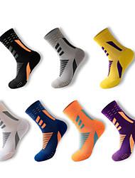 cheap -Compression Socks Athletic Sports Socks 7 pairs Long Men's Crew Socks Tube Socks Breathable Sweat wicking Comfortable Gym Workout Basketball Running Skateboarding Sports Color Block Nylon White Blue