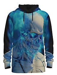رخيصةأون -رجالي مناسب للبس اليومي البلوز هوديي البلوز 3D الرسم جماجم أساسي هوديس بلوزات أزرق